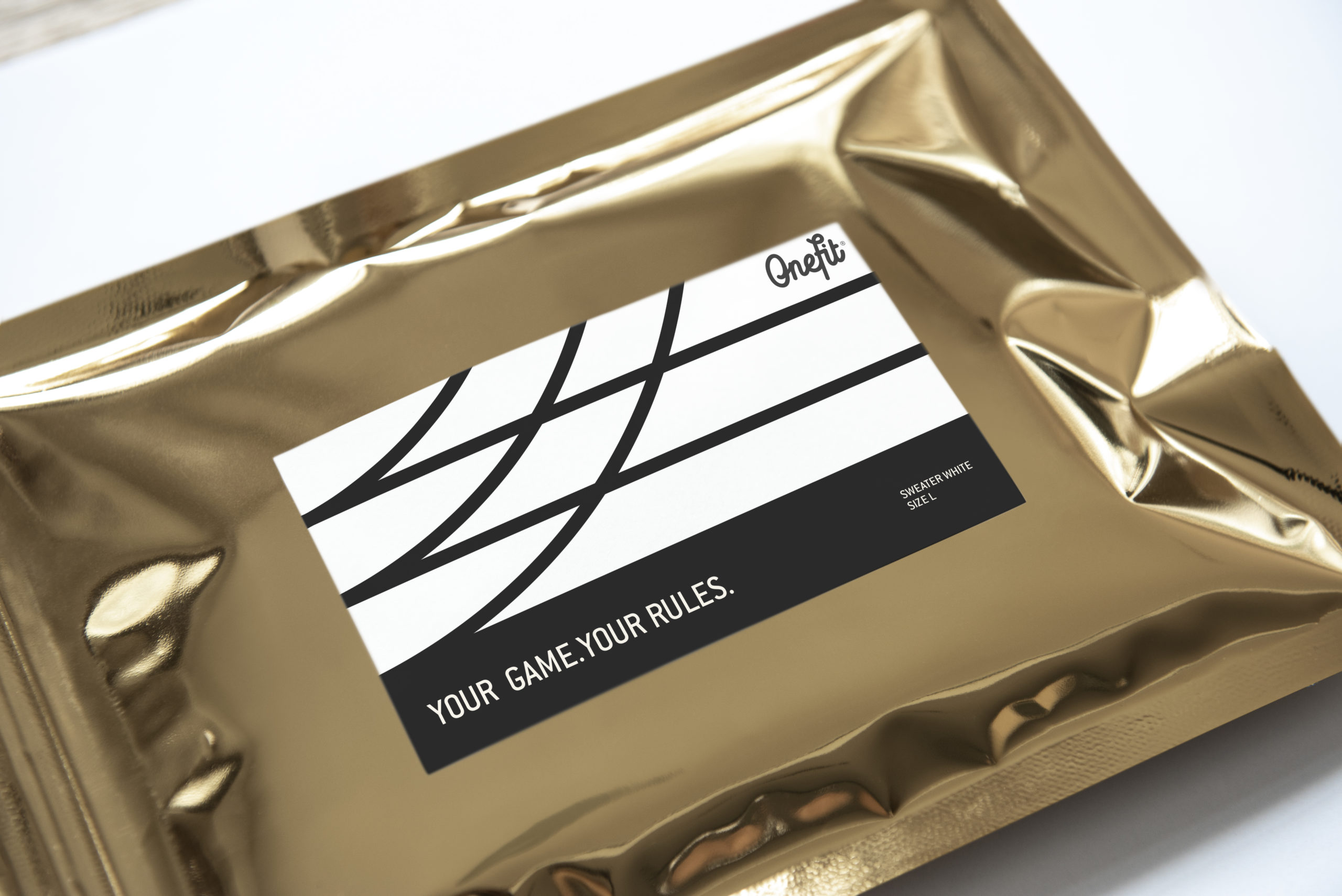 Resealable metallic packaging bag mockup